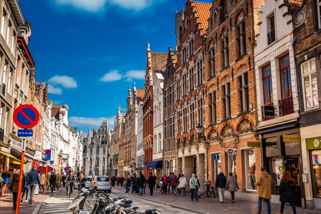 A street in downtown Bruges, Belgium.