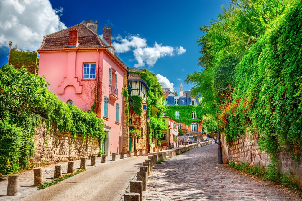 A street in Montmartre in Paris, France.