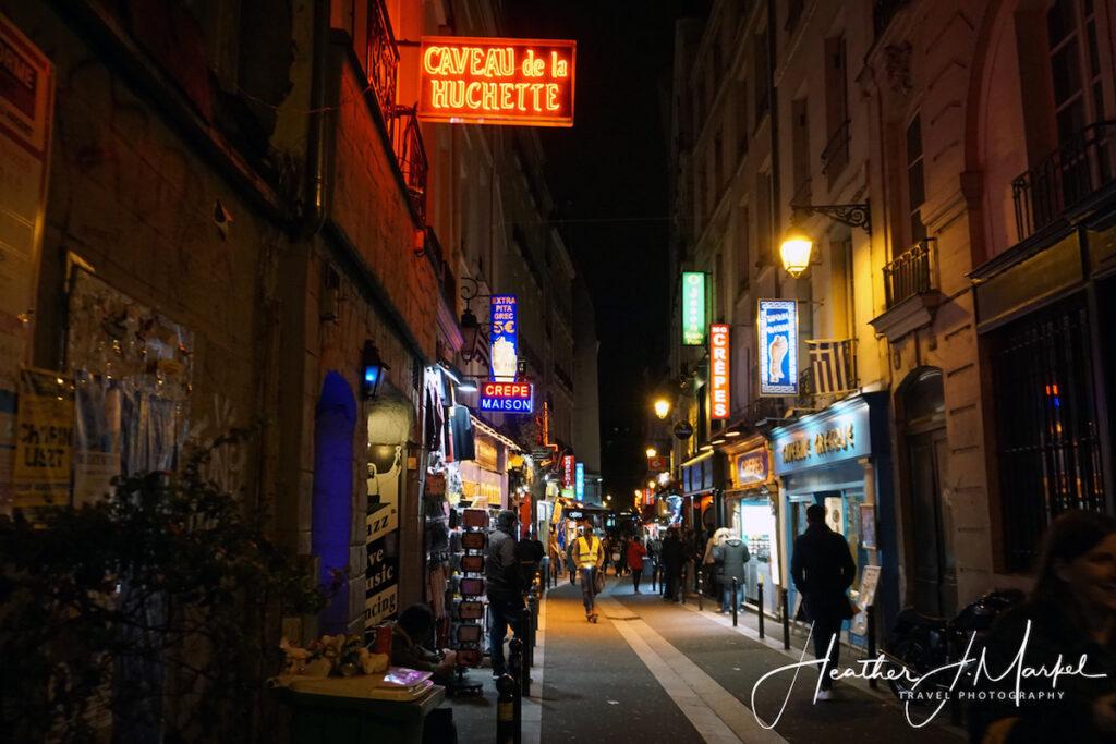 A street in Paris at night.
