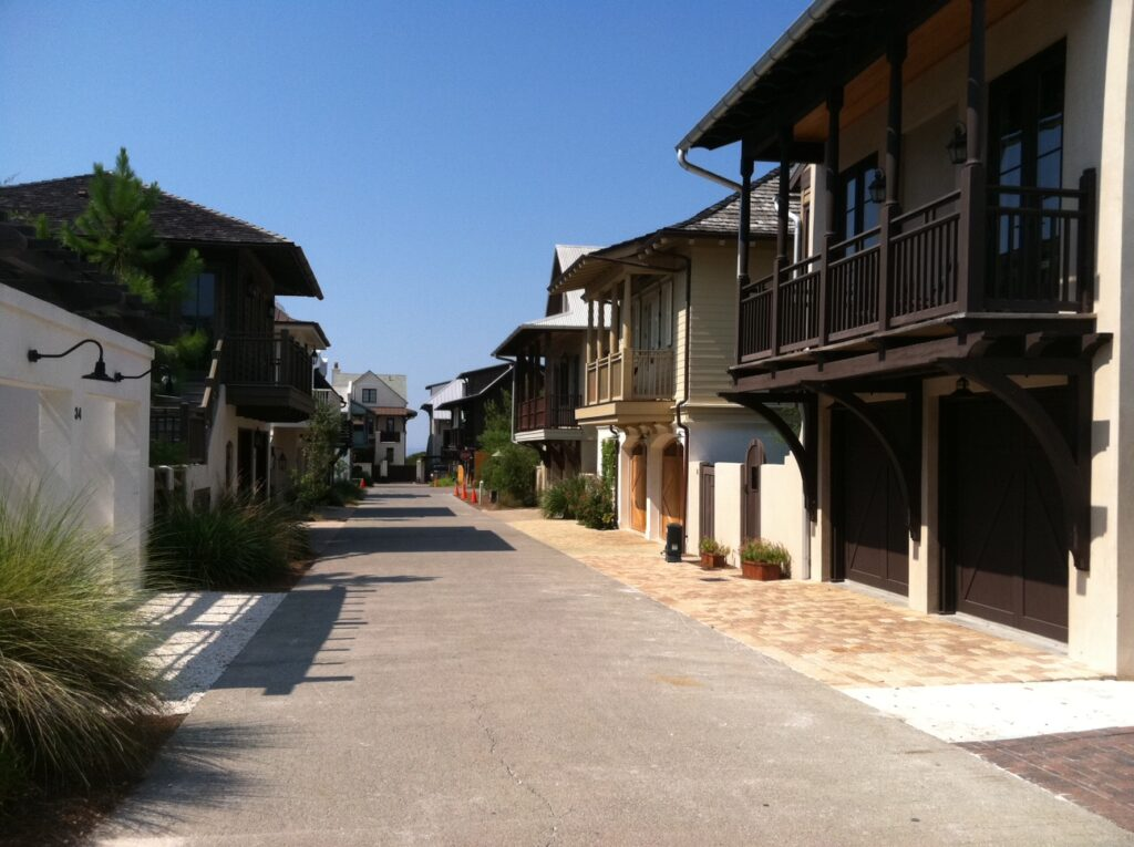 A street in Rosemary Beach, Florida.