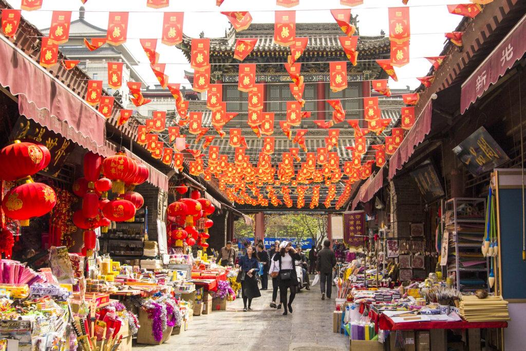 A street market in Xi'an.