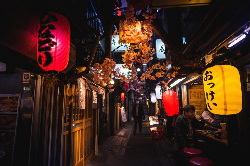 A street of restaurants in Japan.