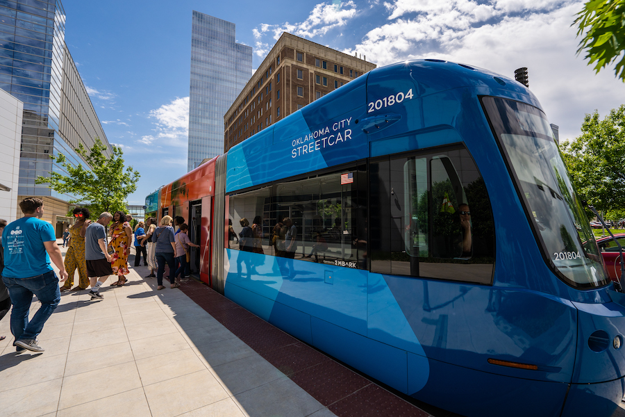 A streetcar in Oklahoma City.
