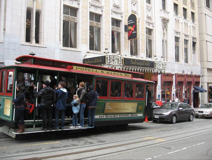 A Streetcar outside the Sir Francis Drake Hotel, San Francisco