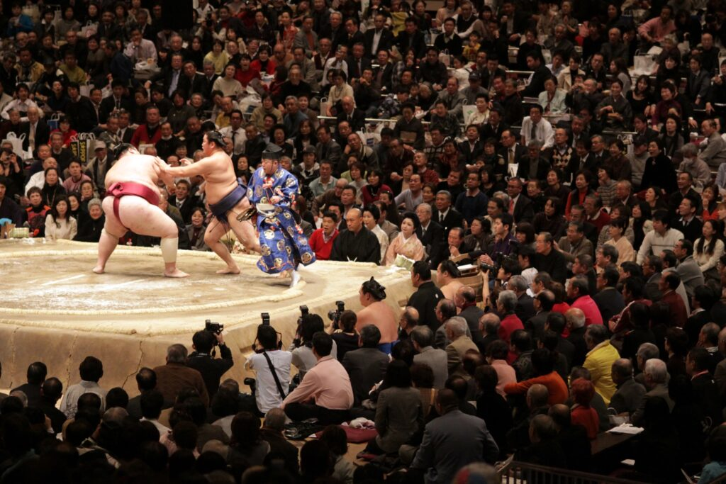 A sumo wrestling match in Tokyo.