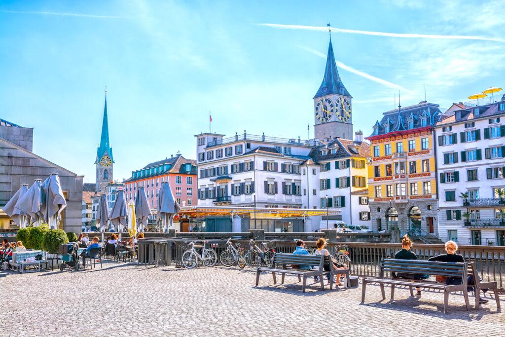 A sunny spring day in downtown Zurich, Switzerland.