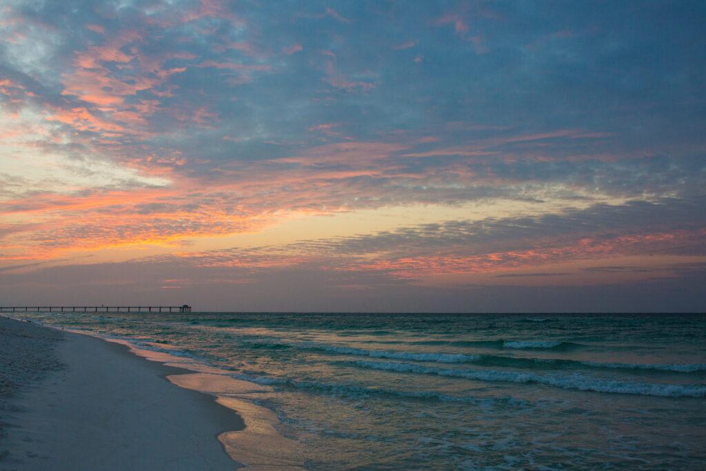 A sunset over a beach near Destin, Florida.