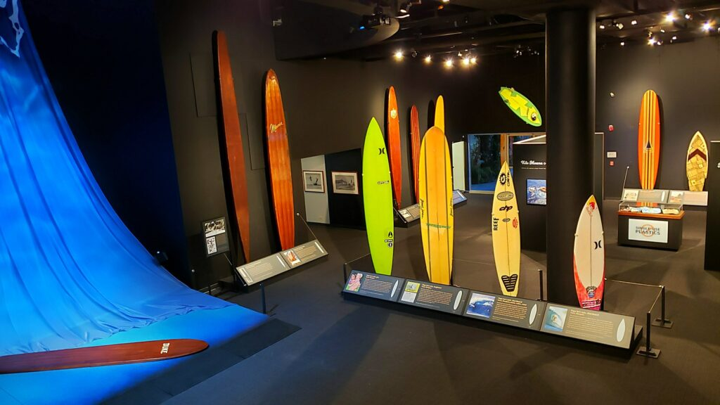 A surfing exhibit at the Bishop Museum.