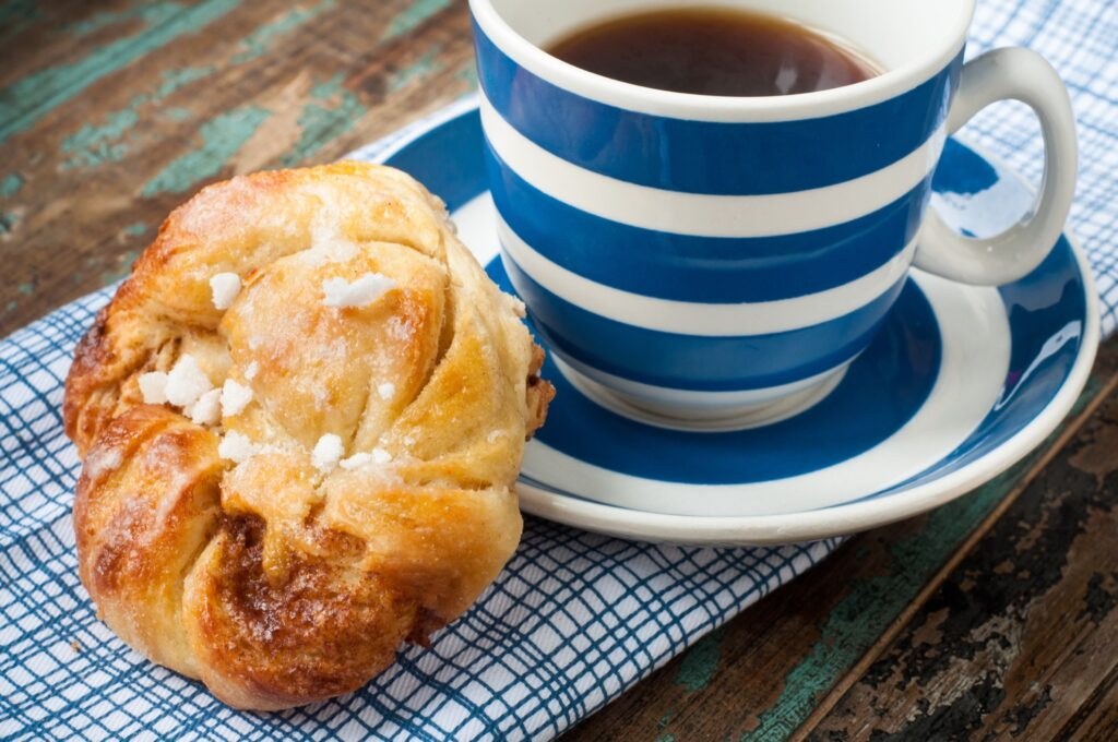 A Swedish cinnamon bun and coffee.