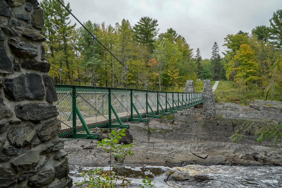 A swinging bridge in Minnesota's Jay Cooke State Park.