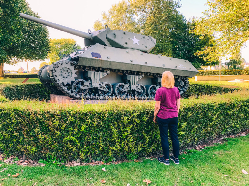 A tank at the Memorial Museum of the Battle of Normandy.
