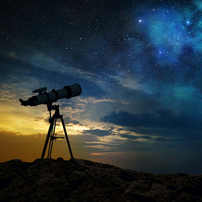 A telescope at dawn.