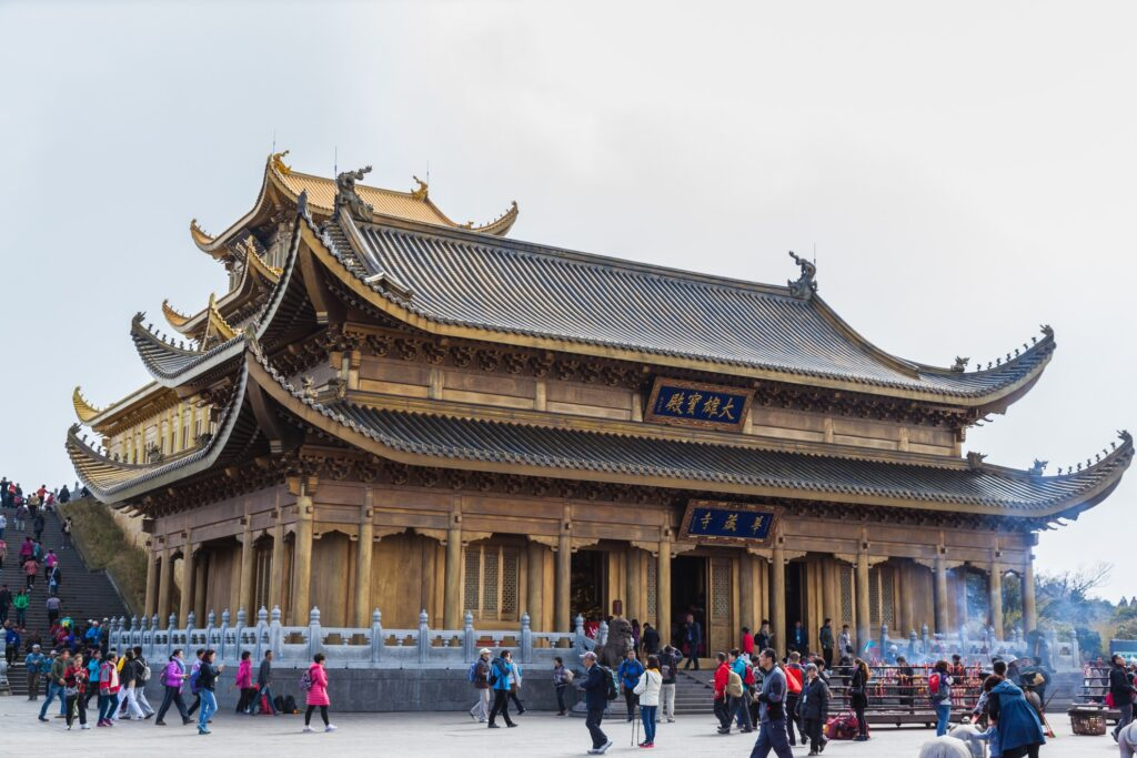 A temple on the top of Mount Emei in China.
