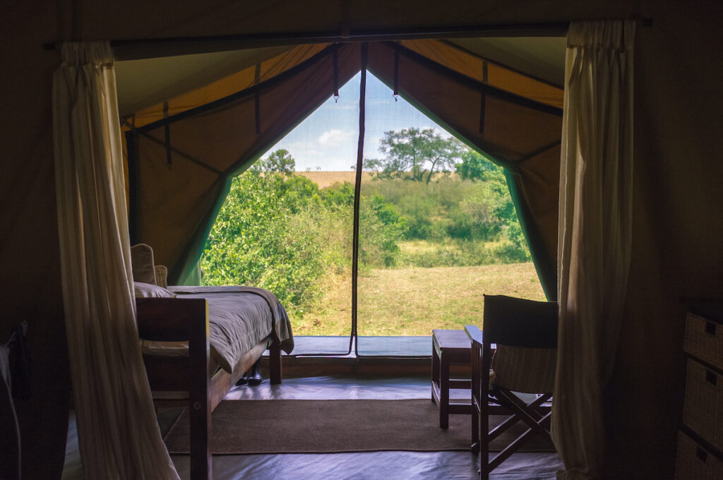 A tent on an African safari.