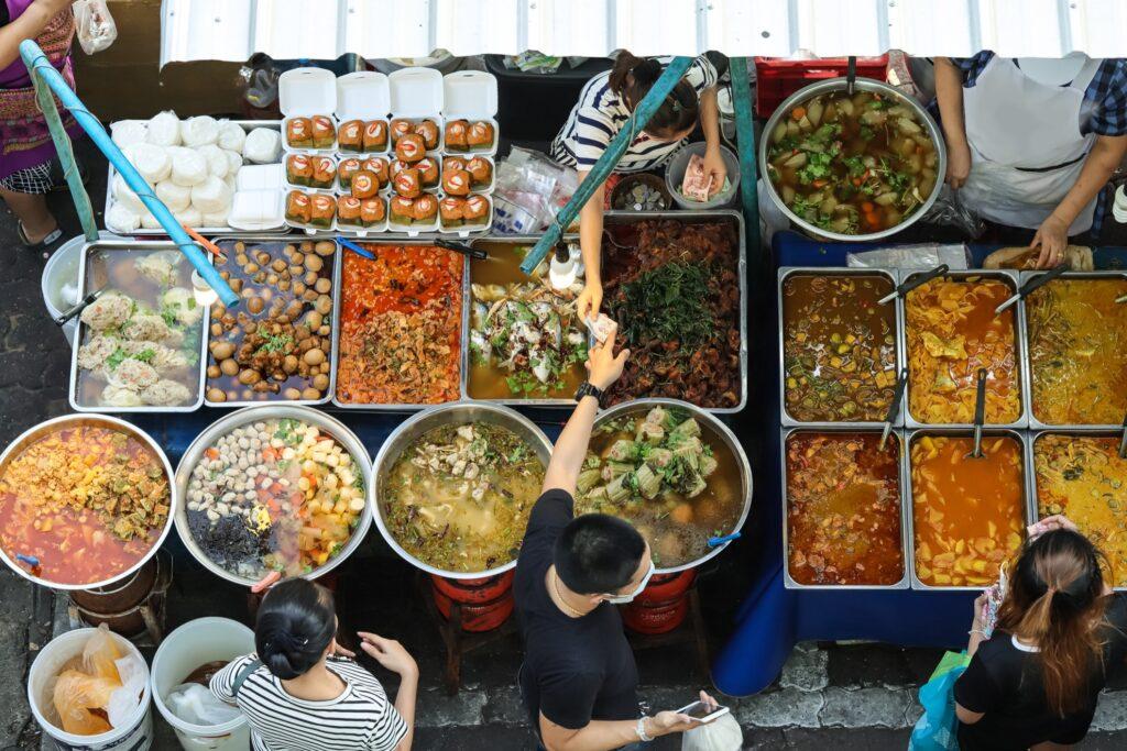 A Thai food market.