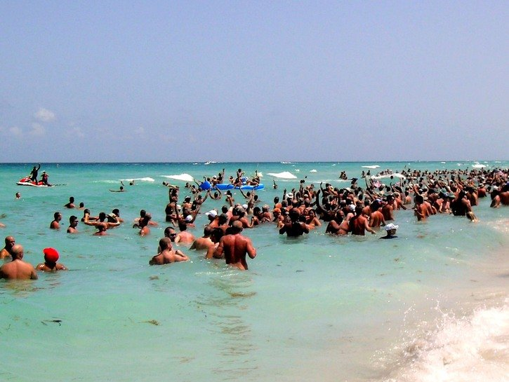 A throng of nude bathers at Haulover Beach