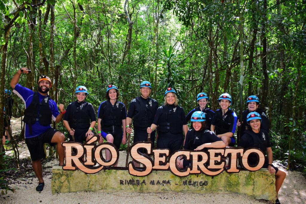 A tour group at Rio Secreto.