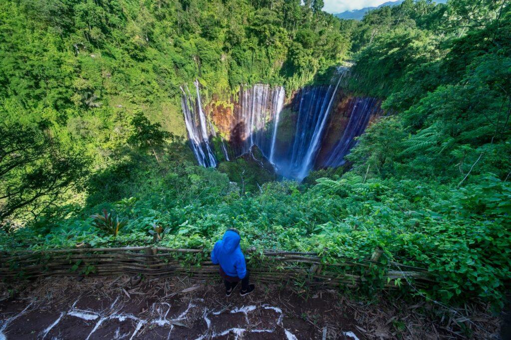 A tourist admiring the Tumpak Sewu waterfalls.