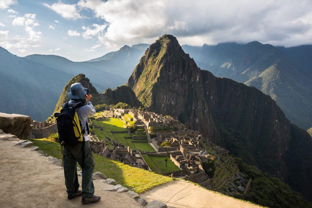 A tourist on the Inca Trail.