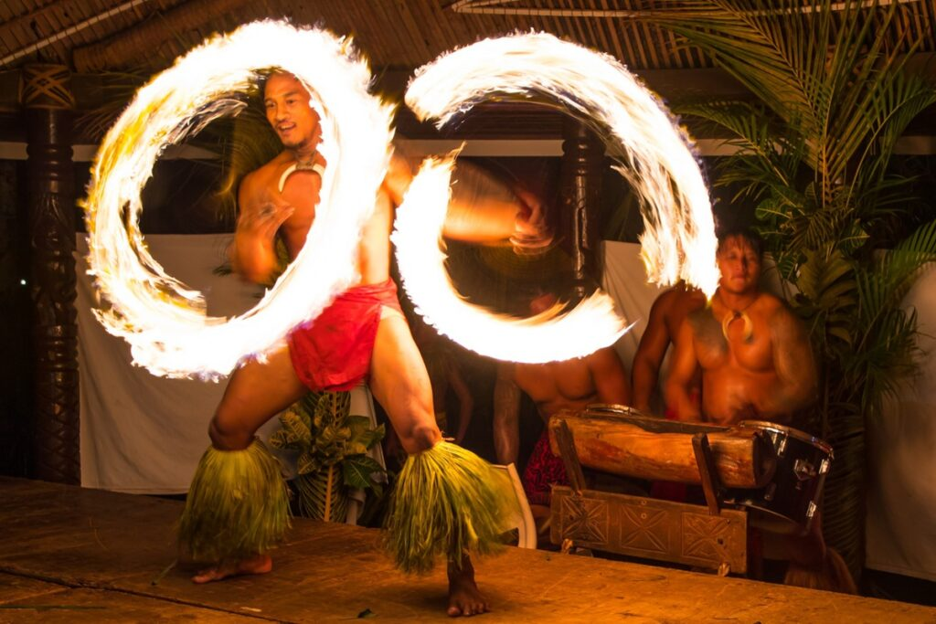 A traditional fire dance at dinner in Samoa.
