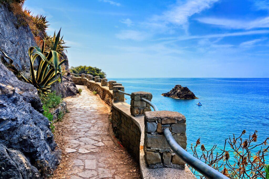 A trail along the coast of Cinque Terre.