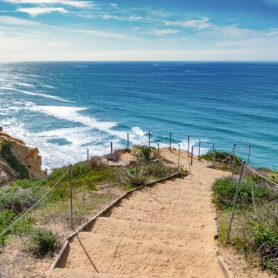 A trail at Torrey Pines State Natural Reserve in San Diego, California.