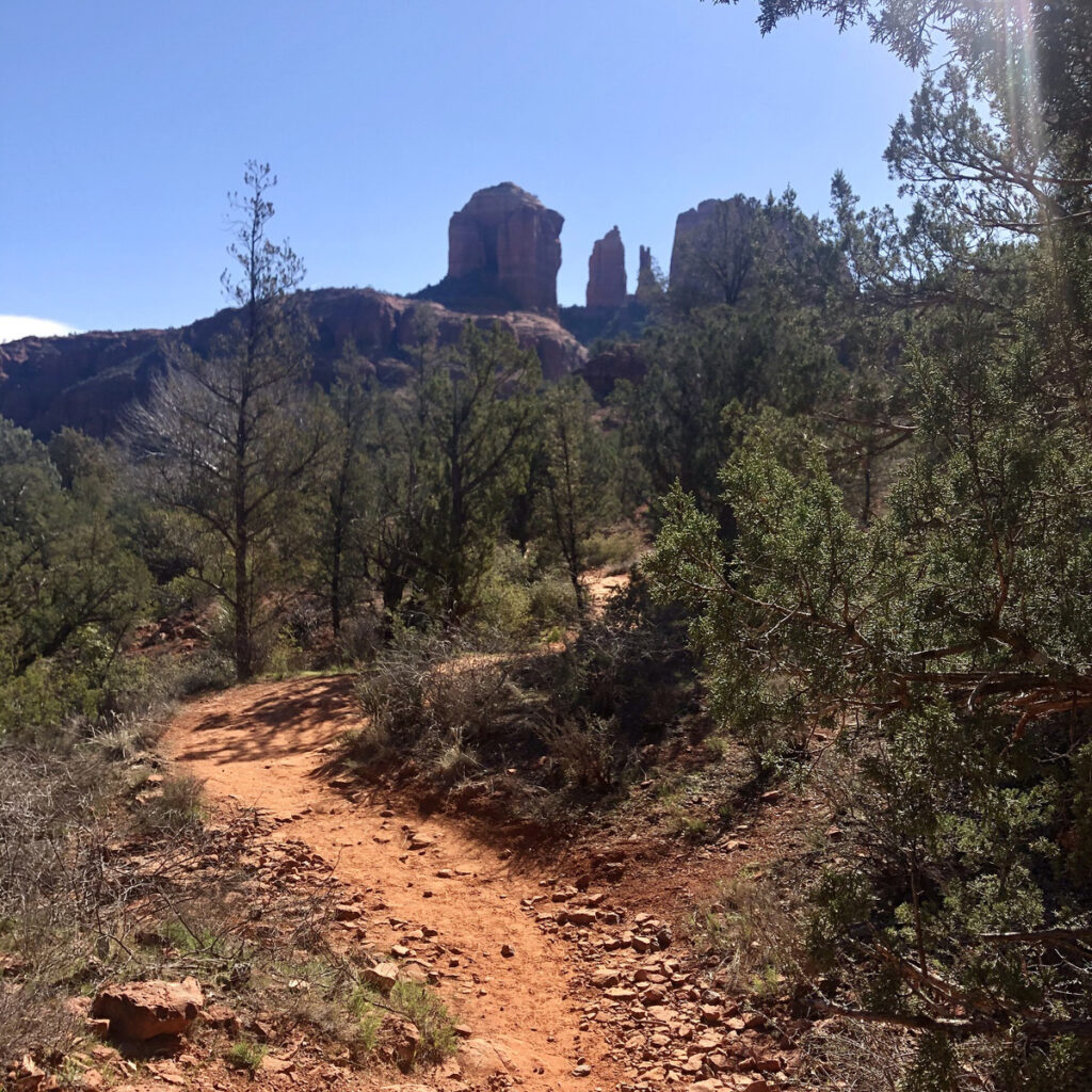 A trail leading to Cathedral Rock.