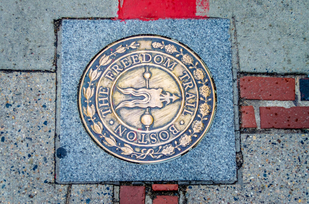 A trail marker of the Freedom Trail in Boston
