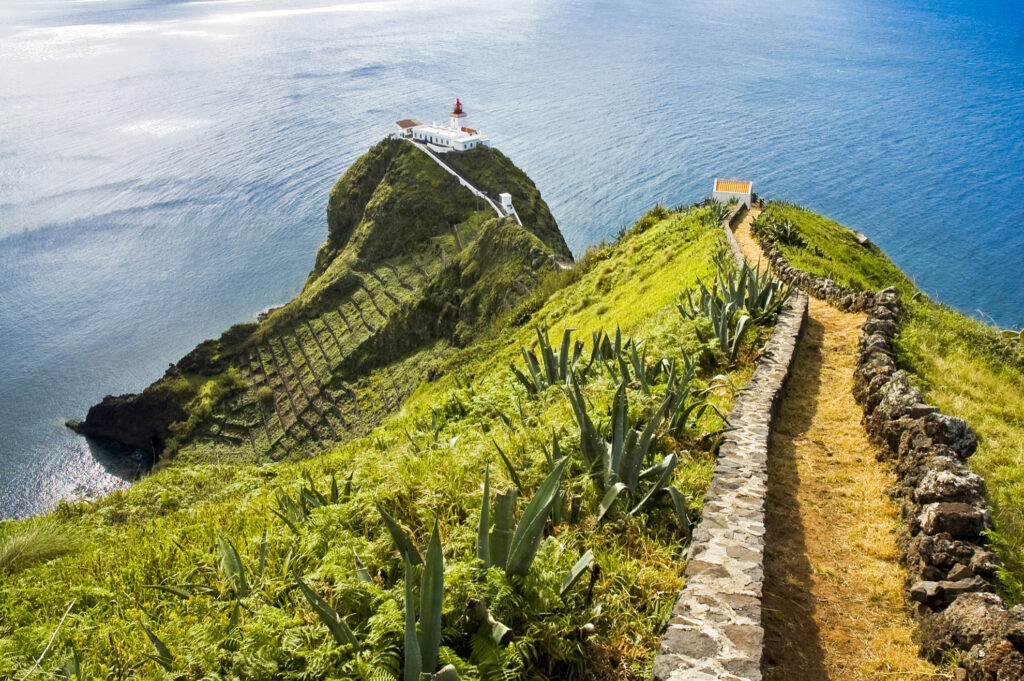 A trail to a lighthouse in the Azores.