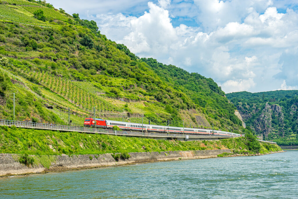 A train along the Rhine Valley in Germany.