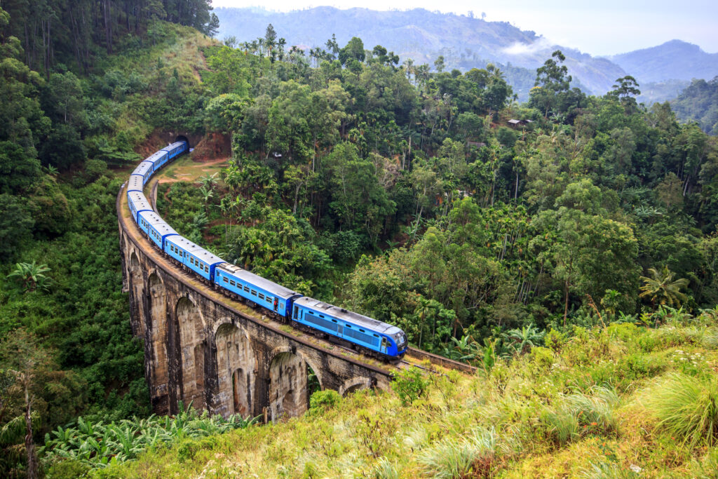 A train on the Nine Arch Bridge in Sri Lanka.