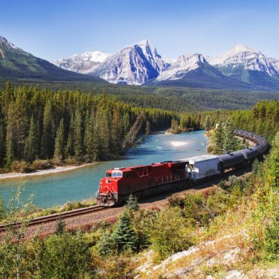 A train passing through the Canadian Rockies.