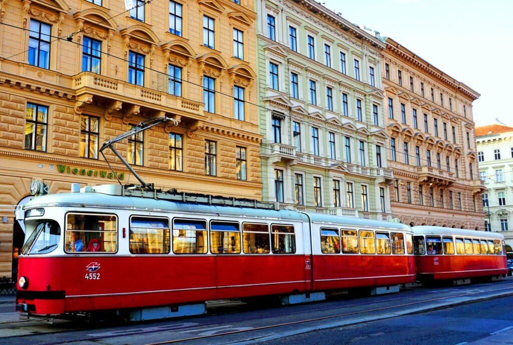 A tram in downtown Vienna.