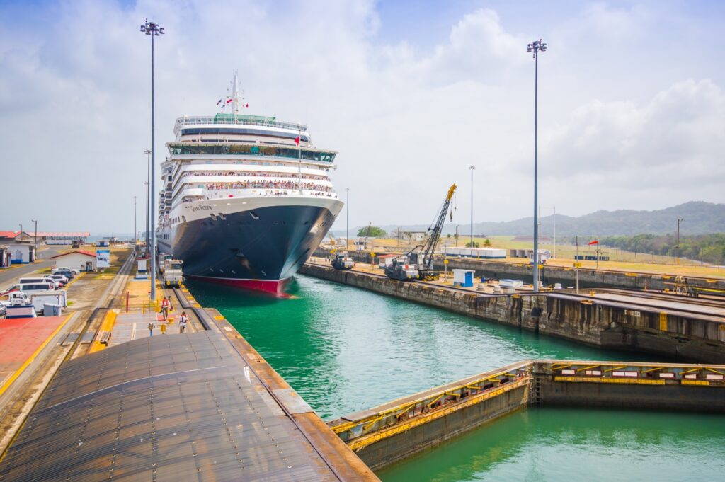 A trip traveling through the Panama Canal.