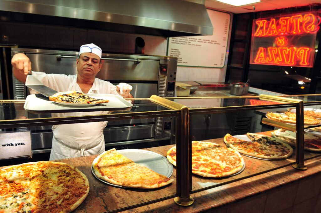 A typical pizzeria in New York City.