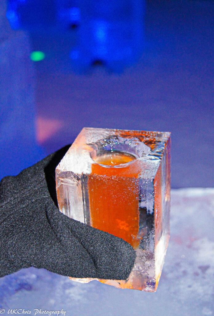 A unique ice cocktail at the Hotel de Glace.