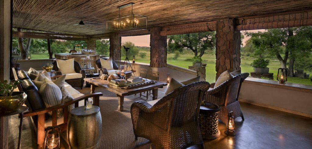 A veranda on the property of Singita Castleton.