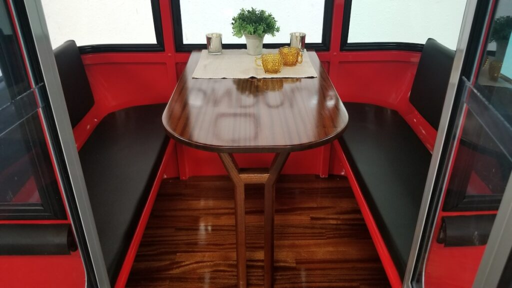A view of dining in a gondola.
