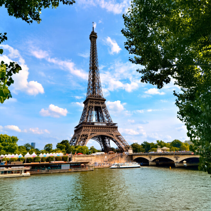 A view of the Eiffel Tower.