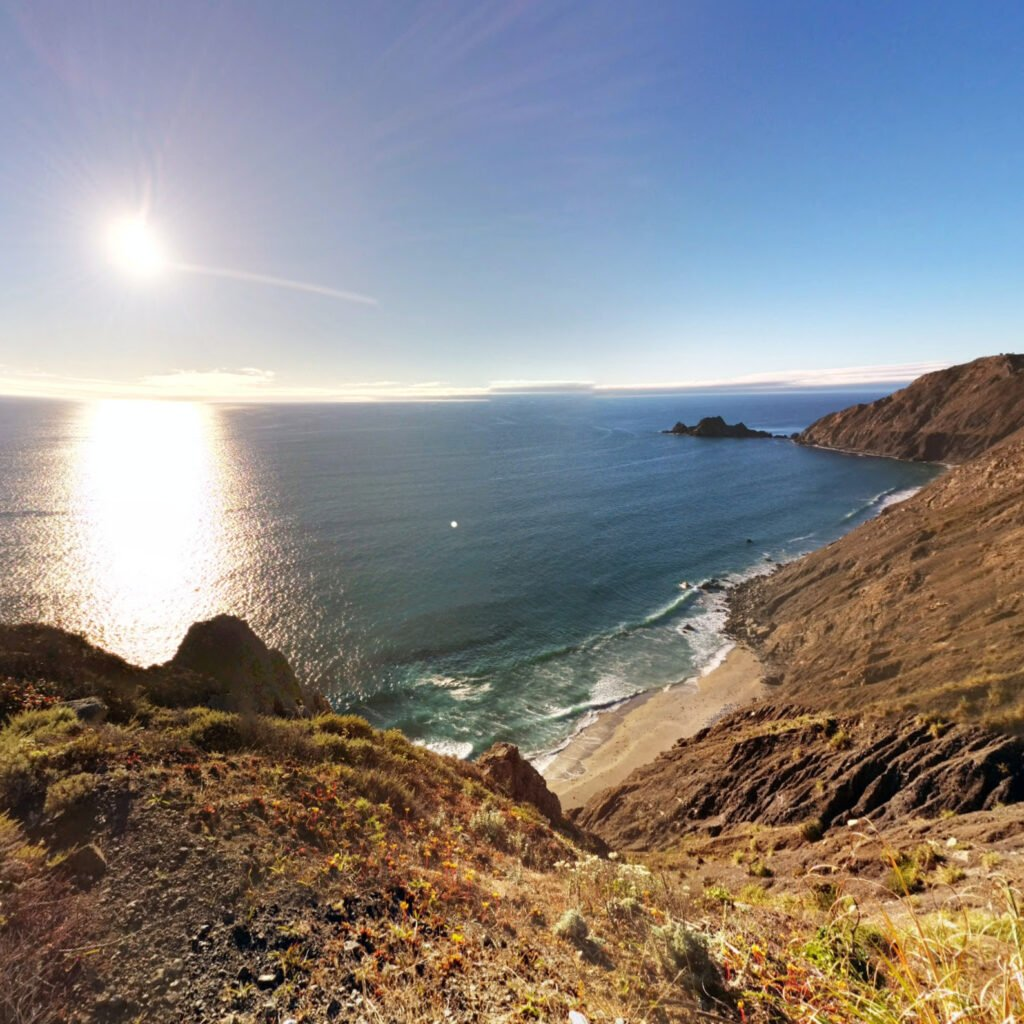 A view of the shoreline in Northern California.
