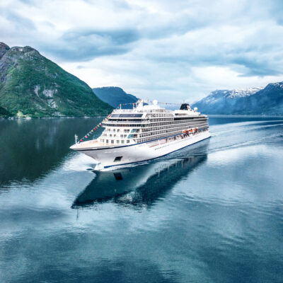 A Viking Cruise ship in Europe.