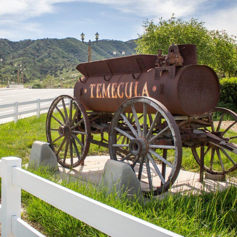 A vintage iron wine tank in Temecula, California.