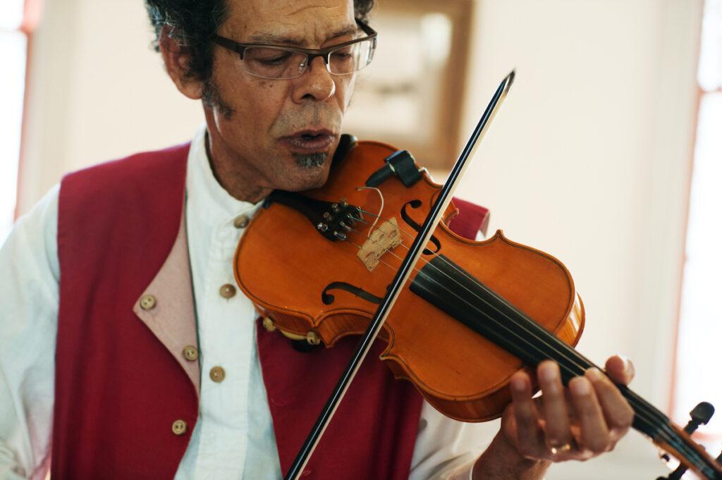 A violinist in Lafayette, Louisiana.
