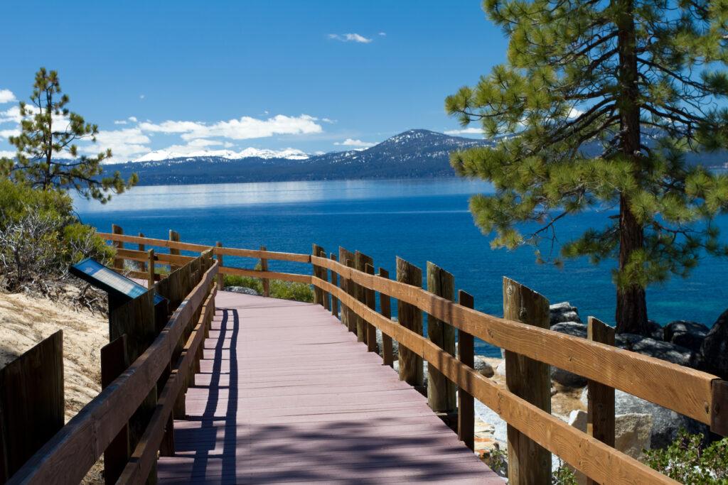 A walking path along Lake Tahoe in California.