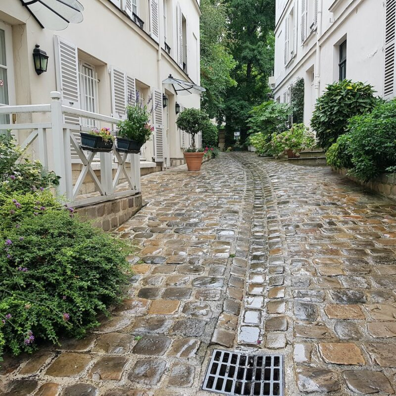 A walkway in the Latin Quarter of Paris, France.