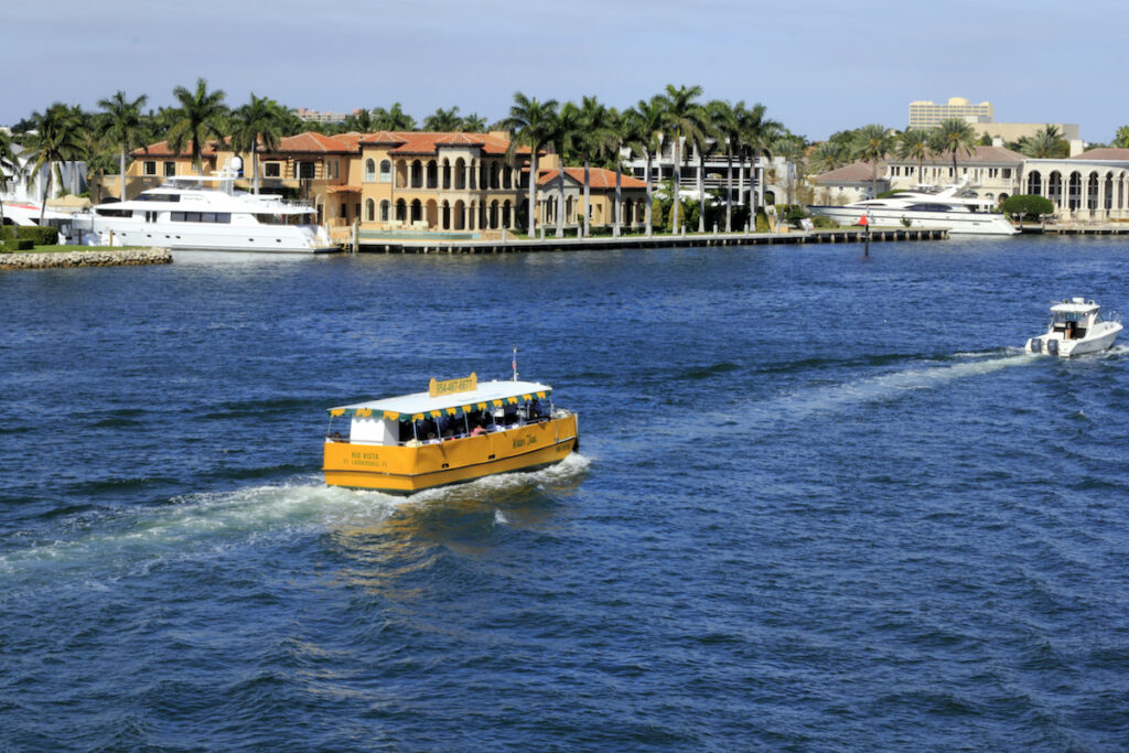 A water taxi tour in Fort Lauderdale, Florida.