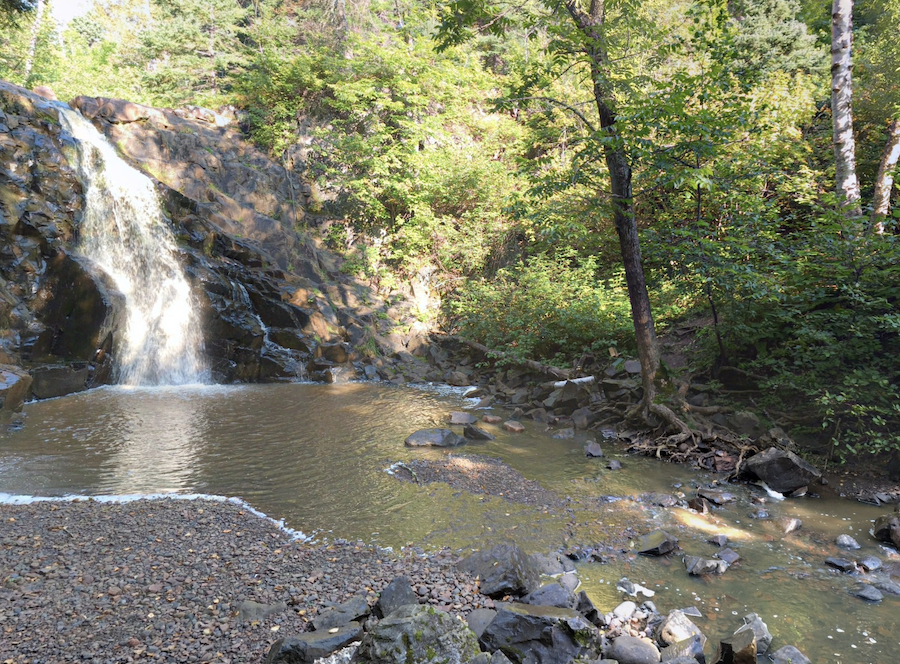 A waterfall along the Superior Hiking Trail.