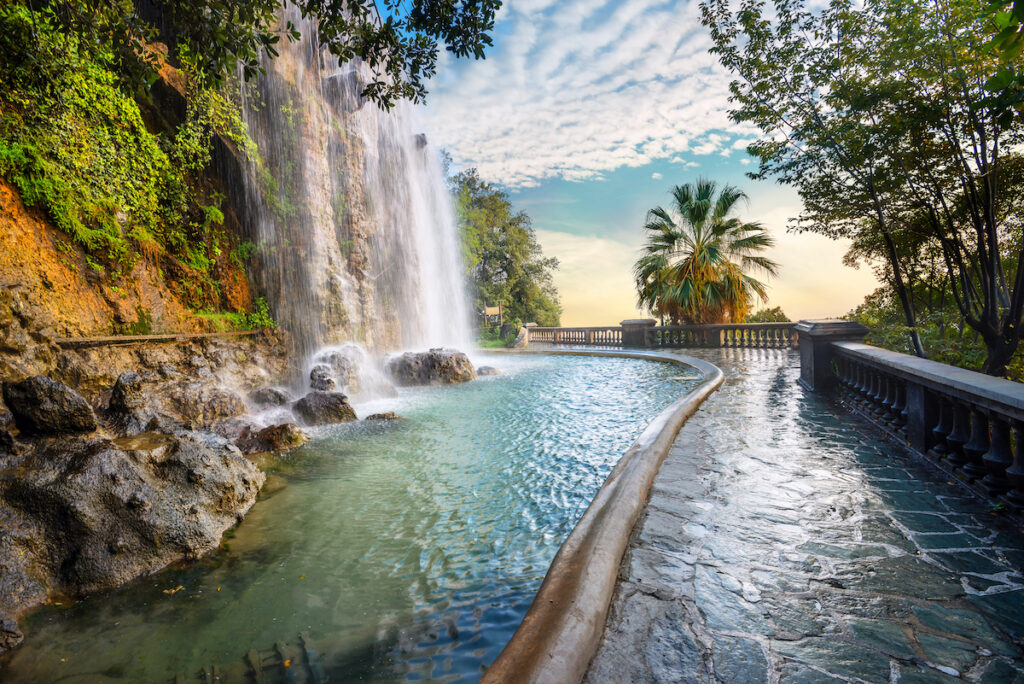 A waterfall at Castle Hill in Nice, France.