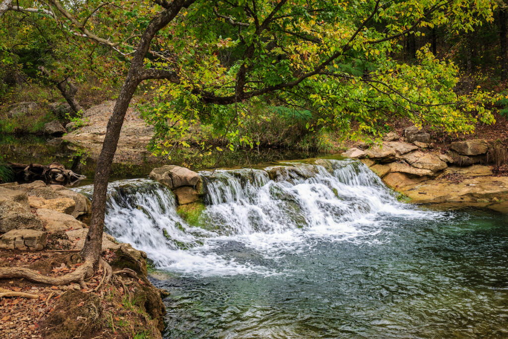 A waterfall at Chickasaw National Recreation Area.