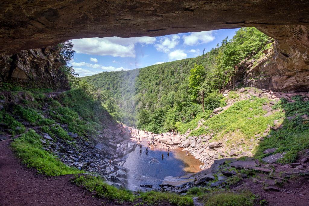 A waterfall at Kaaterskill Falls near Woodstock, New York.